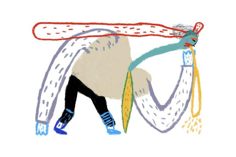 Ilustração de homem colorido vomitando