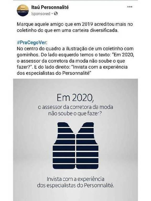 Post patrocinado do Itaú faz piada com coletes conhecidos como uniforme da Faria Lima