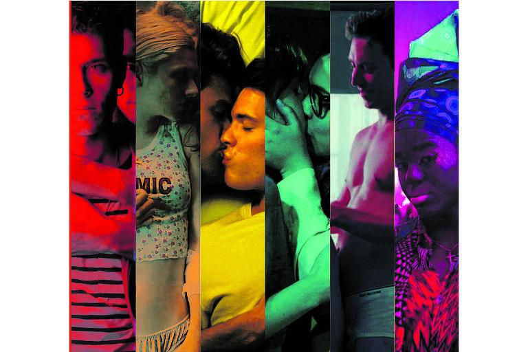Montagem com seis fotos com temática lgbtqi+, cada uma delas tem uma cor do arco-íris predominante