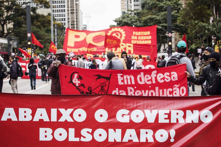 Manifestação contra o governo Bolsonaro em frente ao Masp, na avenida Paulista.