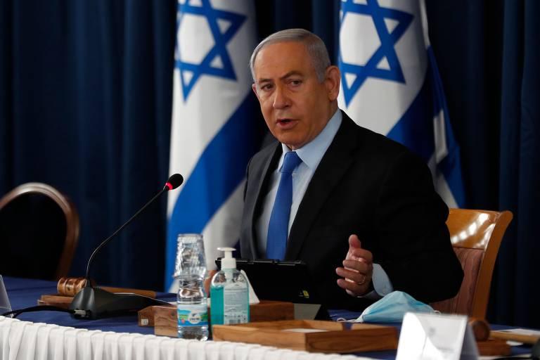 Primeiro-ministro israelense, Binyamin Netanyahu, em encontro semanal do gabinete de governo, em Jerusalem, em 28 de junho.