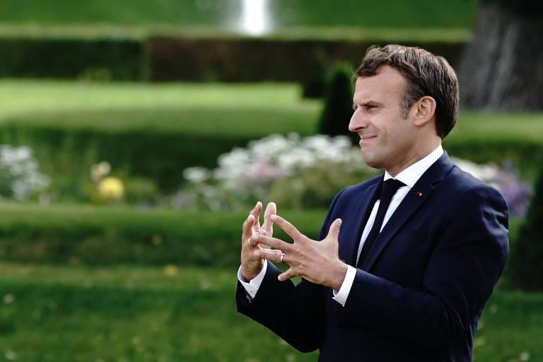 O presidente da França, Emmanuel Macron, em visita à Alemanha nesta segunda-feira (29)