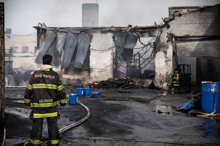 Bombeiro observa área destruída pelas chamadas, já apagadas