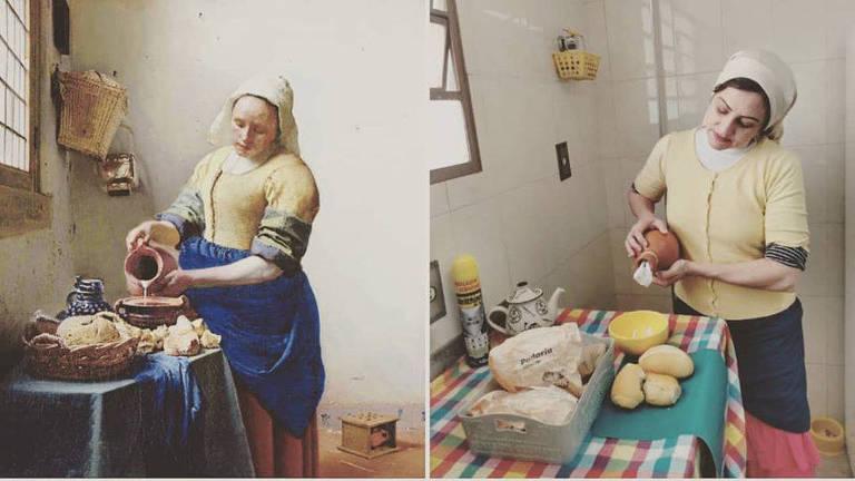 """A professora Juliana Brittes reproduz obras de arte com os materiais que tem em casa e compartilha no Instagram, como a pintura """"A Leiteira"""", do holandês Johannes Veermer"""