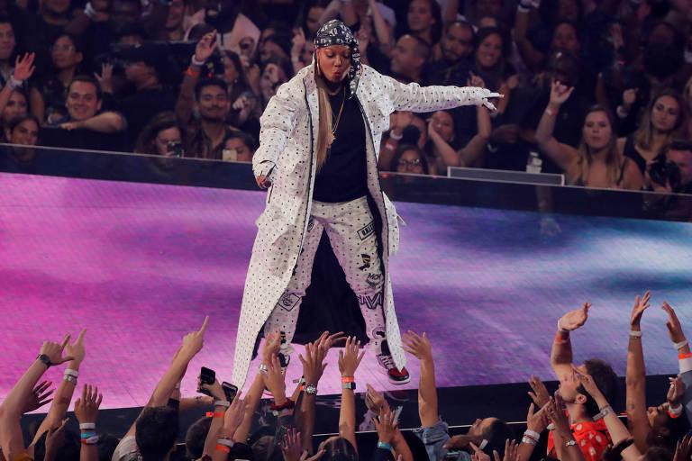 Queen Latifah participa do Video Music Awards da MTV do ano passado, em Newark