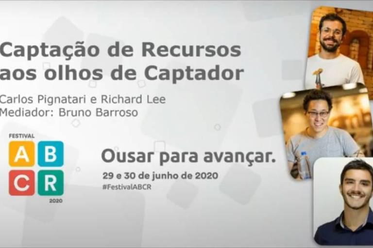 Conversa com investidores sociais da Ambev no Festival ABCR 2020. De cima para baixo, Carlos Eduardo Pignatari Filho (gerente corporativo de impacto social da Ambev), Richard Lee (head de sustentabilidade da Ambev) e Bruno Barroso (fundador da plataforma Prosas)