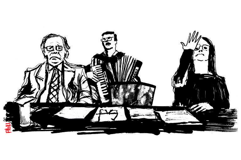 Ilustração em preto e branco que reproduz cena de vídeo do Planalto reunindo Guedes, a tradutora de libras e um sanfoneiro