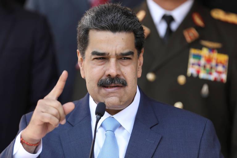 O ditador venezuelano, Nicolás Maduro, discursa no Palácio Miraflores, em Caracas