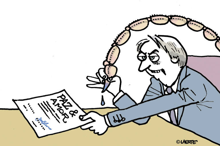 Charge mostra um homem representando Jair Bolsonaro sentado segurando um papel com sua mão esquerda em que esta escrito paz & amor, e na direita uma caneta com ferrão de escorpião.