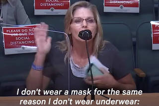 Anti-maskers speeches in a public hearing at Palm Beach County Board of Commissioners