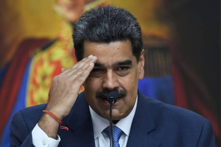 O ditador venezuelano, Nicolás Maduro, durante entrevista coletiva no Palácio Miraflores, em Caracas