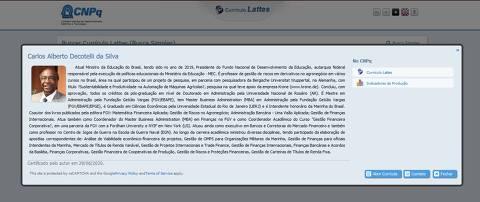 Currículo do ex-ministro da Educação Carlos Alberto Decotelli