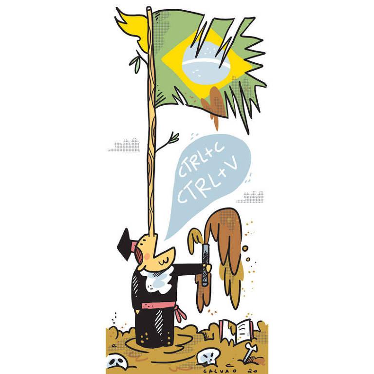 """Ilustração de uma pessoa com nariz grande, como o de Pinóquio, vestindo beca. O nariz serve como mastro de uma bandeira do Brasil desgastada e com rasgos. A pessoa está dizendo """"CTRL+C CTRL+V"""" e há muita lama em volta dela"""