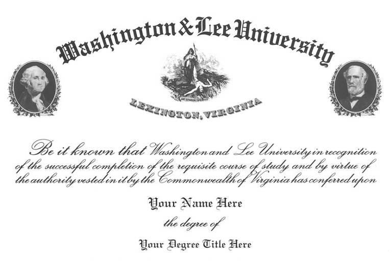 Reprodução de diploma da Universidade Washington and Lee, com as faces de George Washington (à esq.) e Robert Lee (à dir.)