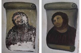 Combination photo shows photograph of 20th century Ecce Homo style fresco of Christ before restoration and an undated handout photograph after restoration by an amateur artist Gimenez in Borja