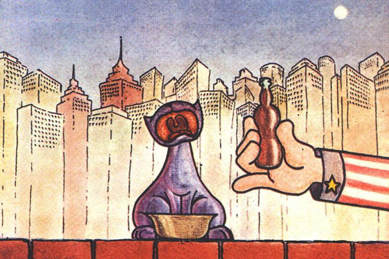 """Cena da animação """"Meow"""" (1981), exibida em mostra do Itaú Cultural"""
