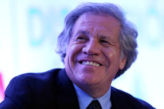 Organization of American States (OAS) Secretary-General Luis Almagro smiles during the Democratic Solidarity in Latin America meeting organised by Forum 2000 Foundation in Mexico City