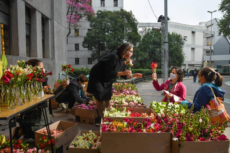 Profissionais da saúde recebem flores em agradecimento