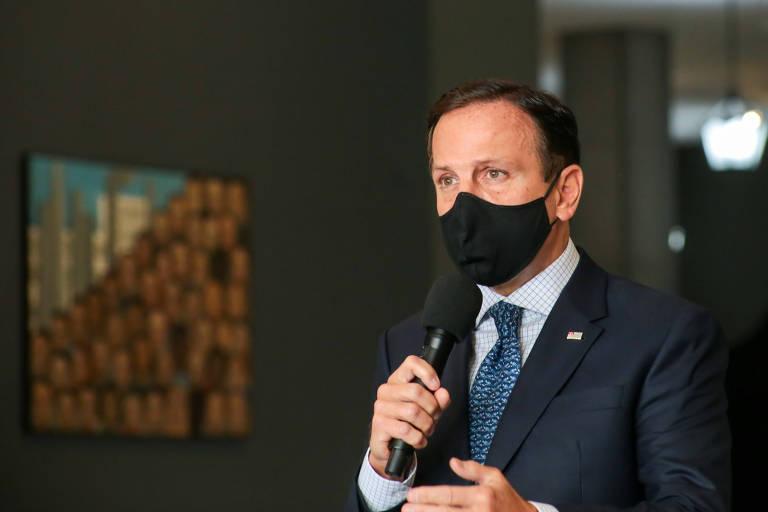 O governador João Doria em coletiva de imprensa realizada no dia 1° de julho