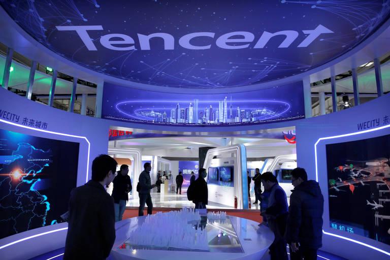Estande da Tencent na Exposição Mundial 5G em Pequim
