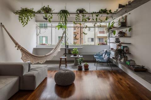 Ambiente com itens que aproximam morar em apartamentos da experiência de morar nas casas, uma das tendências que surgiram na quarentena