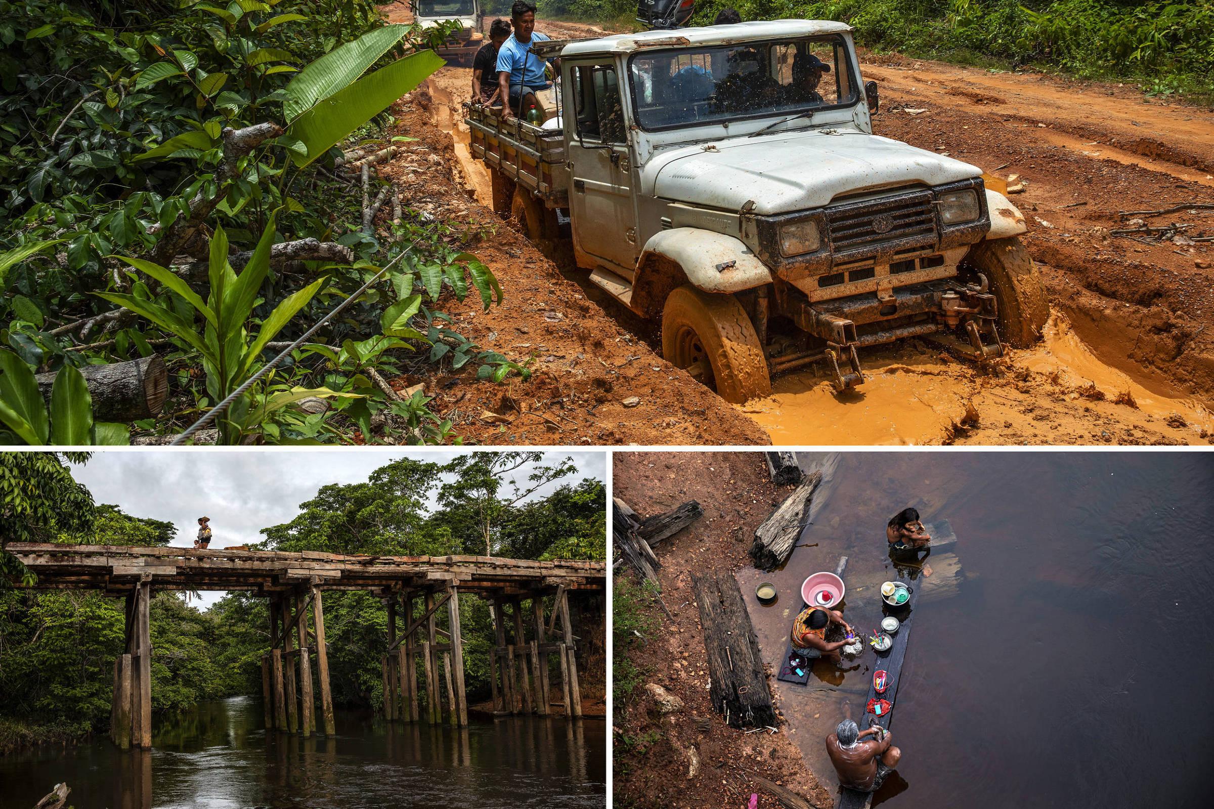 Caminhonetes percorrem a BR-307 no trecho que liga São Gabriel da Cachoeira à a comunidade Ya-Mirim dentro da Terra Indígena Balaio
