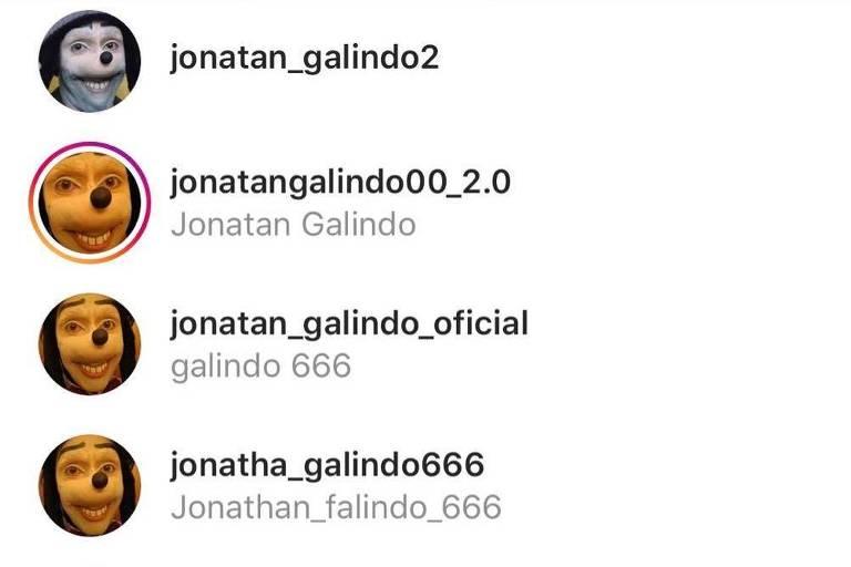 No Instagram, são dezenas de contas com nome usado por 'Homem Pateta' para crimes virtuais