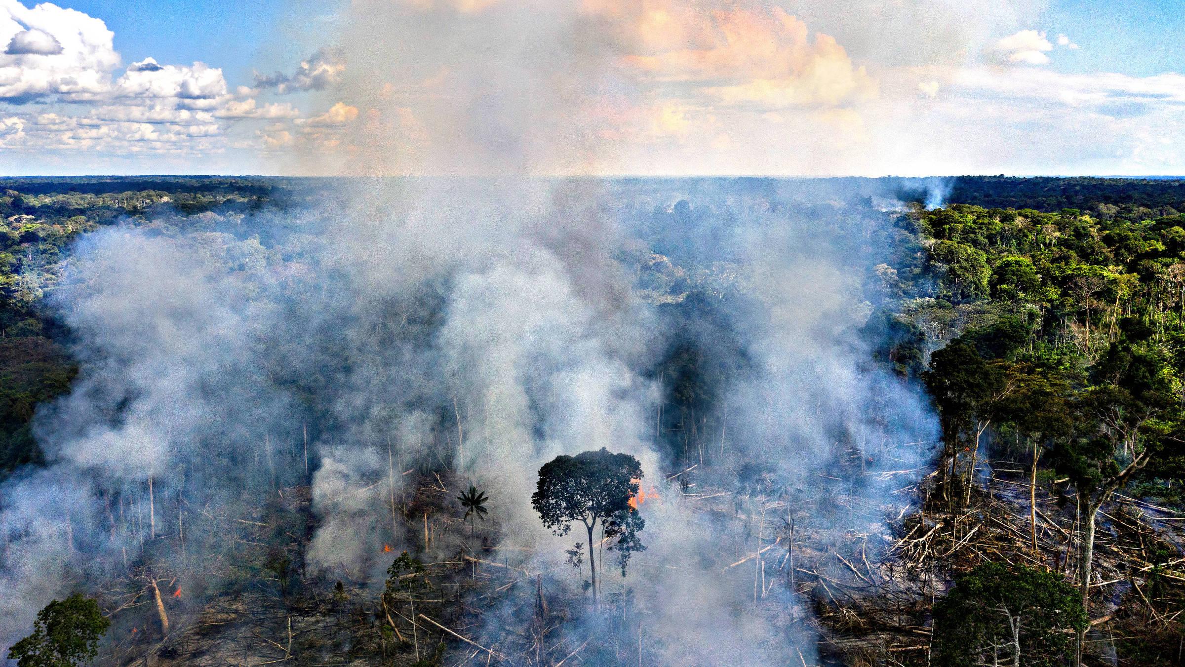 Queimada em área desmatada no seringal Albracia, dentro da Reserva Extrativista Chico Mendes, em Xapuri (AC)