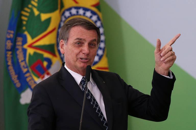O presidente Jair Bolsonaro durante cerimônia de lançamento do programa Médicos pelo Brasil
