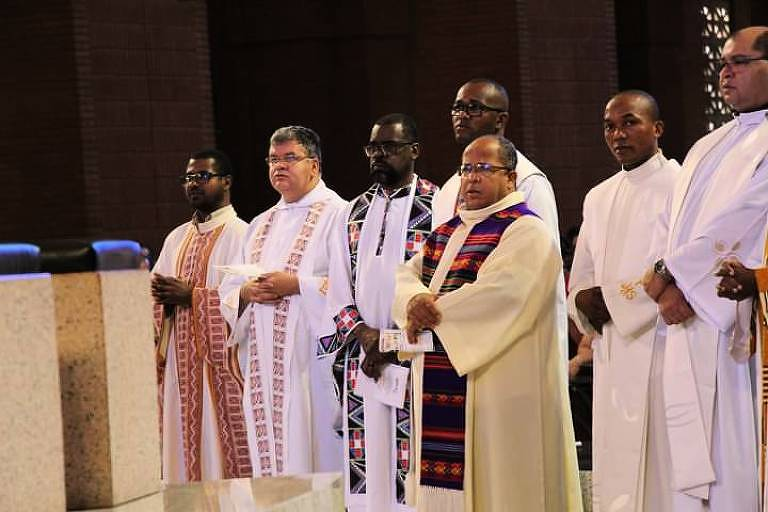 Missa Afro celebrada em 2019. O encontro é realizado anualmente no segundo sábado de novembro em Aparecida do Norte