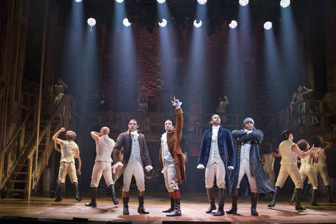 FILE -- From left: Anthony Ramos, Lin-Manuel Miranda, Daveed Diggs and Okieriete Onaodowan in