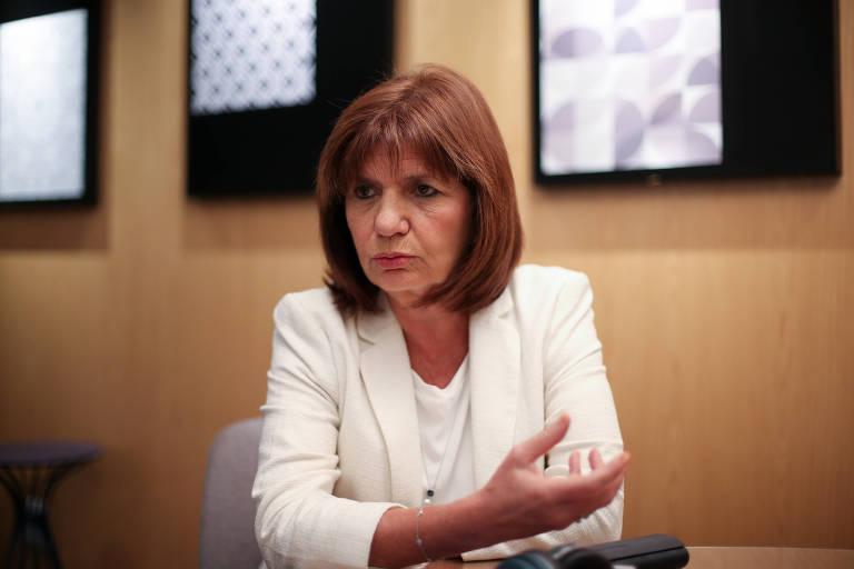 Patricia Bullrich, então ministra da Segurança da Argentina, durante entrevista em Brasília