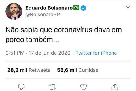 'Não sabia que coronavírus dava em porco', disse Eduardo Bolsonaro sobre Joice Hasselmann