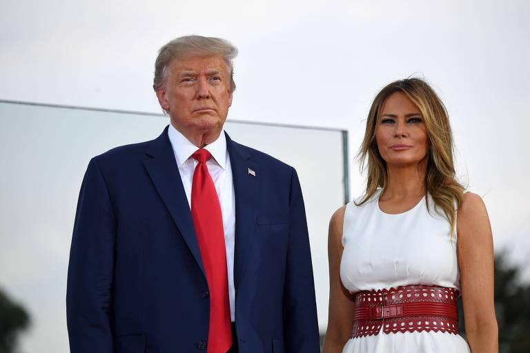 O presidente americano, Donald Trump, e a primeira-dama, Melania, em evento no Dia da Independência dos EUA