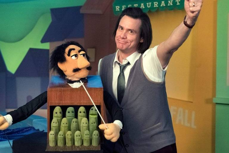 """Cena da série """"Kidding"""", com Jim Carrey usando fantoche"""