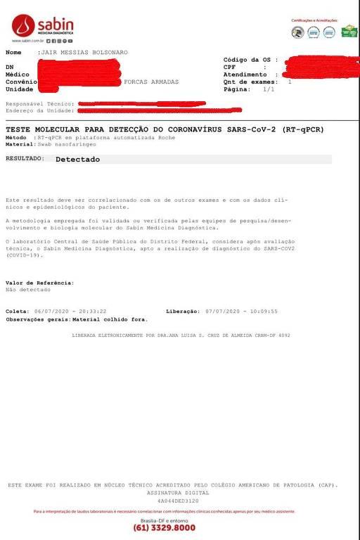 Exame do presidente divulgado pelo Planalto