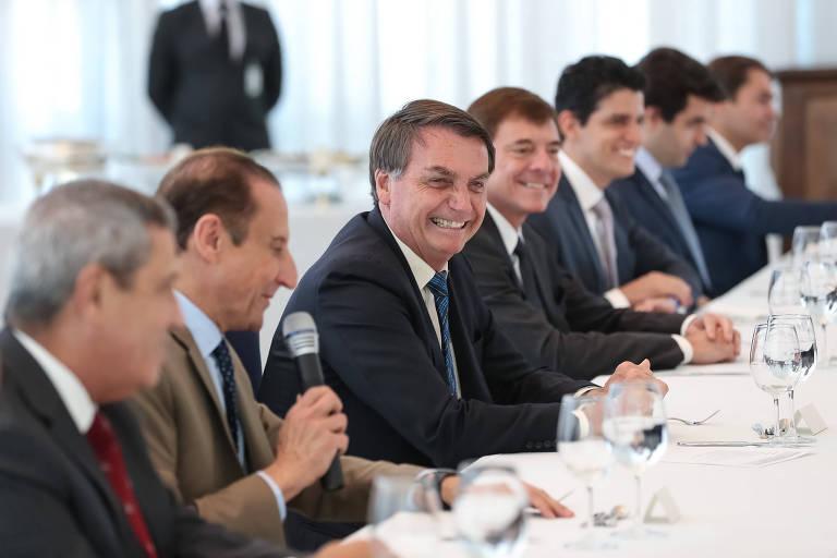 Bolsonaro durante encontro com o Paulo Skaf, presidente da Fiesp (Federação das Indústrias do Estado de São Paulo) e empresários