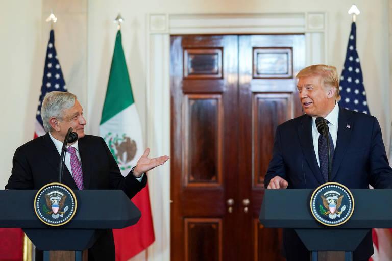 O presidente mexicano, Andrés Manuel Lopez Obrador, e o americano, Donald Trump, na Casa Branca