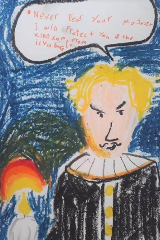 """Desenho feito por Emily, de 7 anos, e enviado a concurso de ilustrações do site do livro """"Ickabog"""", de JK Rowling. Na ilustração, um monarca loiro diz """"nunca tema sua majestade, eu protegerei você e o rei do Ickabog"""""""