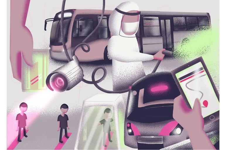Ilustração une vários elementos relacionados ao transporte: metrô, ônibus, bilhete único, fila