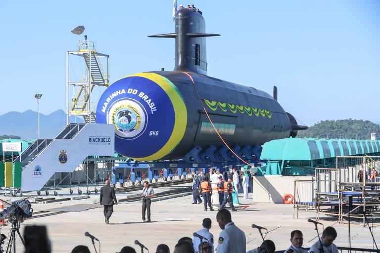 Lançamento do Riachuelo, o primeiro submarino da nova geração a ser adotada pela Marinha
