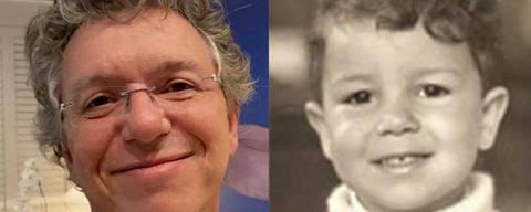 Montagem com foto da infância  de Boninho
