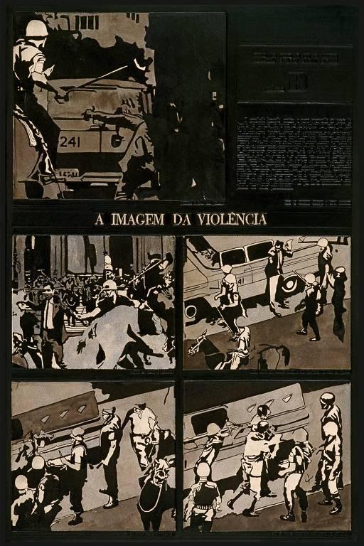 Detalhes de obras do artista Antonio Manuel, que retratou época da ditadura. Ilustração traz policiais batendo em manifestantes