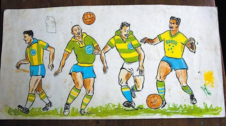 """Aldyr Schlee afirmava ter feito mais de 100 desenhos até chegar no modelo vencedor. Esta imagem, que reproduz diferentes uniformes pensados pelo gaúcho, ilustra a capa do livro """"Futebol: o Brasil em campo"""", do jornalista inglês Alex Bellos"""