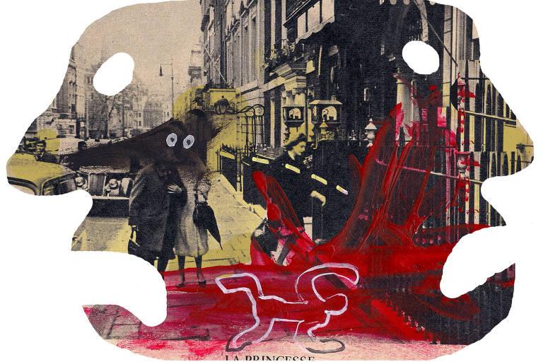 ilustração de rua dentro de dois rostos