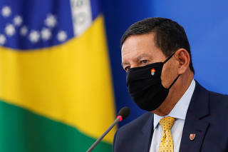 Brazil's Vice President Hamilton Mourao speaks during a news conference at the Planalto Palace in Brasilia,