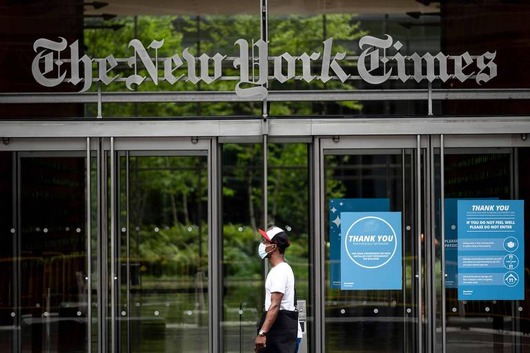 Fachada do prédio do jornal americano The New York Times, em Nova York