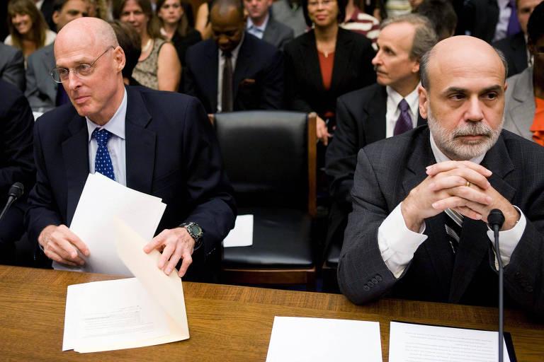Henry Paulson (Tesouro) Ben Bernanke (Fed) na Câmara dos EUA