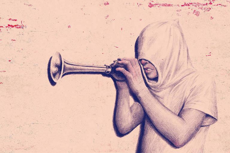 Ilustração de pessoa com capuz na cabeça quase todo fechado, só é possível ver o nariz e a boca dela. Nas mãos, há uma buzina antiga levantada na altura do rosto, prestes a ser acionada