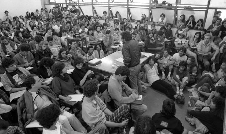 Uma das sessões da 37ª Reunião Anual da SBPC, em Belo Horizonte,1985